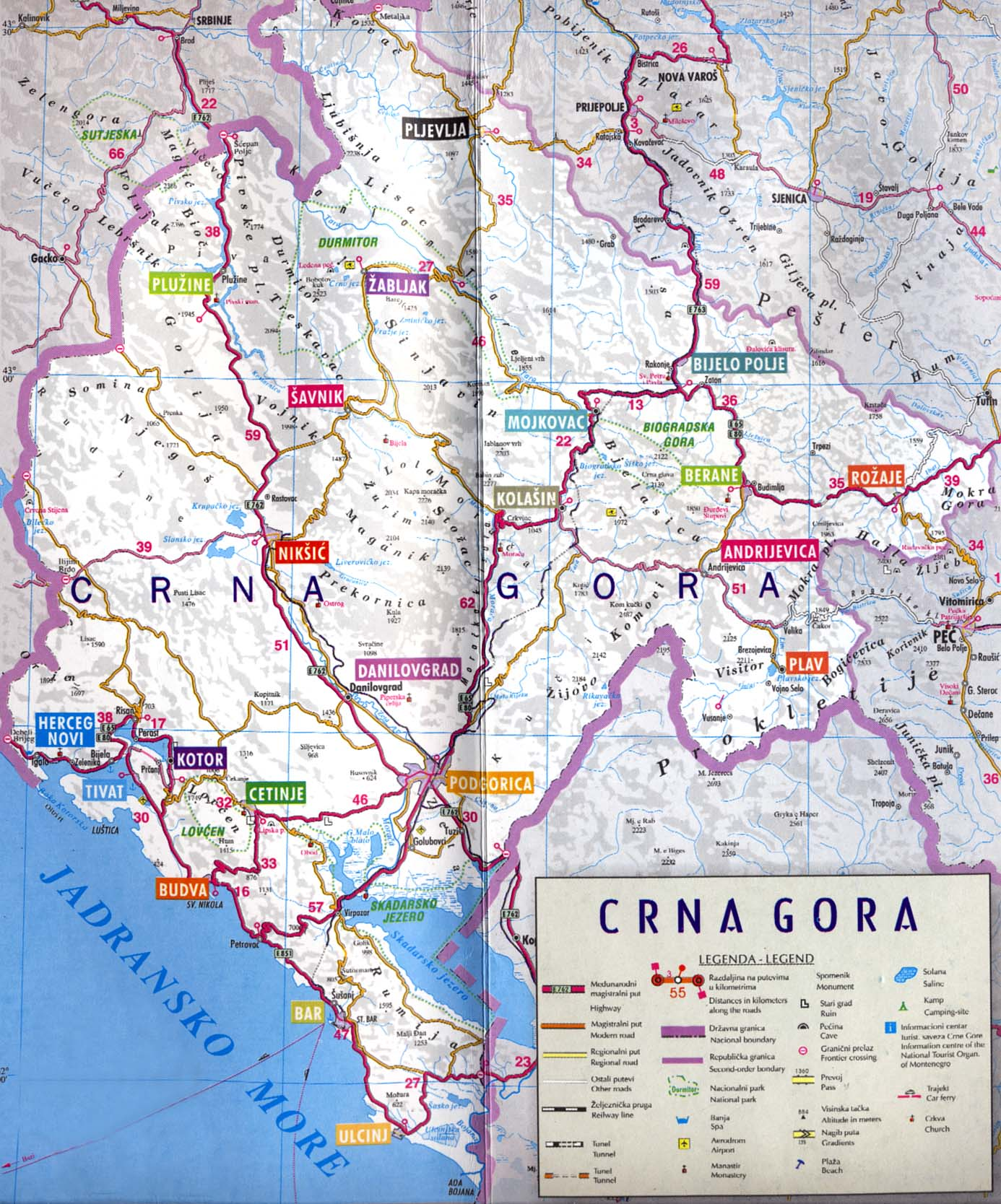 Travel Maps Of Montenegro Coast And The Capital City Podgorica