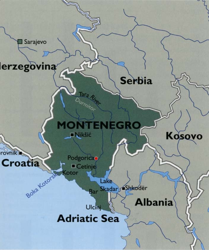 Travel Maps Of Montenegro Coast And The Capital City Podgorica - Podgorica map