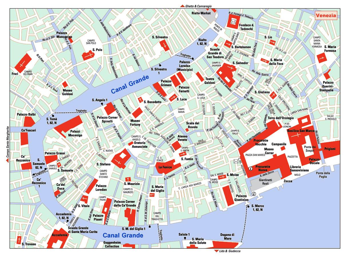 Detailed Map Of Venezia Venice Italy